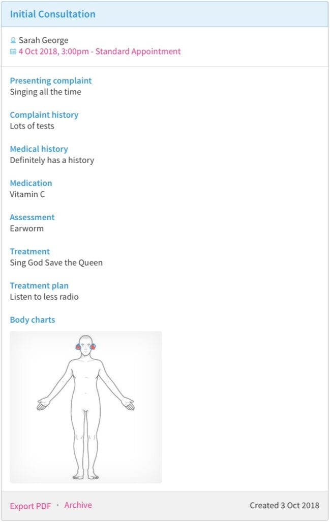 Cliniko - Treatment Notes