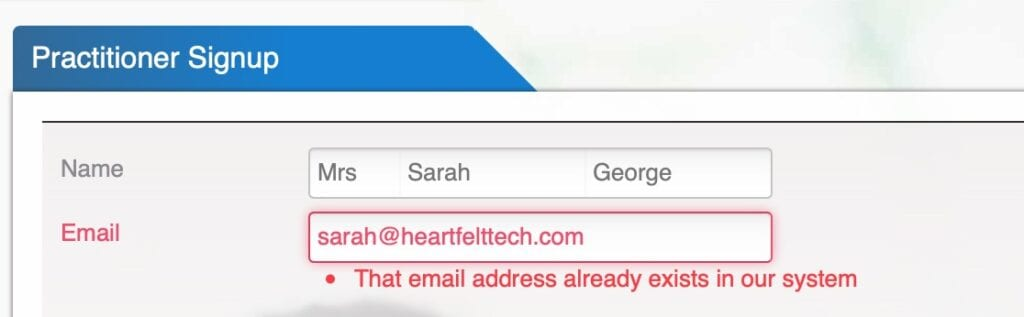 Healthkit - email address exists